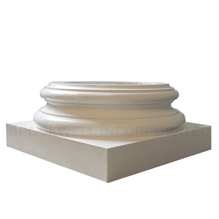 Round interior load-bearing Attic Base molding & plinth for wood columns