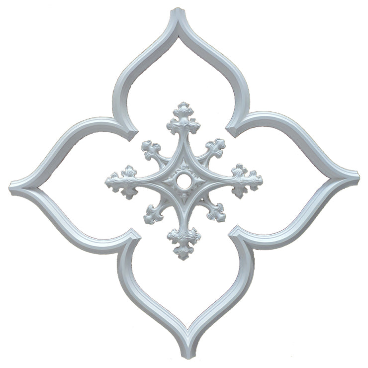 "43""(On Diagonal) x 1-1/2""(Relief) - Open Gothic Tracery w/ Center Medallion - [Plaster Material]-CEILINGS-Brockwell Incorporated"