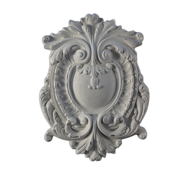 "Easy to Install - 9-1/2"" (W) x 12-3/4"" (H) x 1/2"" (Relief) - French Style Cartouche Applique - [Plaster Material] from Brockwell Incorporated"