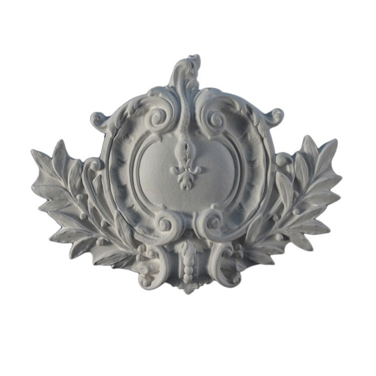 "Easy to Install - 13"" (W) x 9-1/2"" (H) x 1"" (Relief) - French Style Cartouche Applique - [Plaster Material] from Brockwell Incorporated"