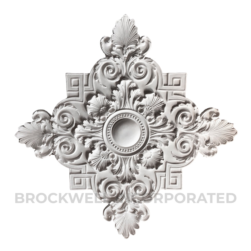 "38-1/2"" Diameter x 1-1/2"" Relief - Louis XIV Centerpiece - Plaster Material - Brockwell Incorporated"