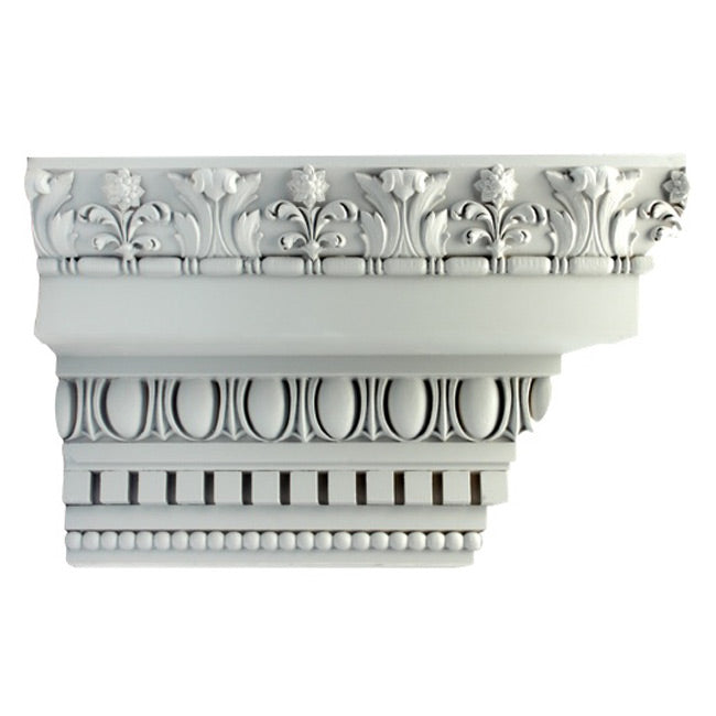 "10""(H) x 6-1/4""(Proj.) - Repeat: 4-7/8"" - Colonial Style Crown Molding Design - [Plaster Material] - Brockwell Incorporated"
