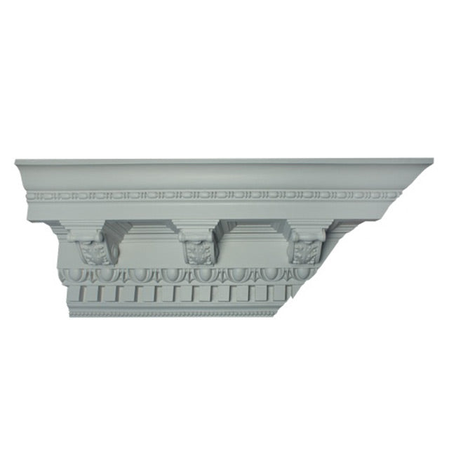 "12-1/2""(H) x 12""(Proj.) - Repeat: 10-1/2"" - Roman Style Crown Molding Design - [Plaster Material] - Brockwell Incorporated"