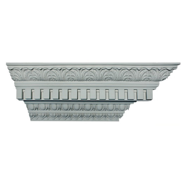 "10-1/2""(H) x 10-1/8""(Proj.) - Repeat: 3-3/8"" - Roman Style Crown Molding Design - [Plaster Material] - Brockwell Incorporated"