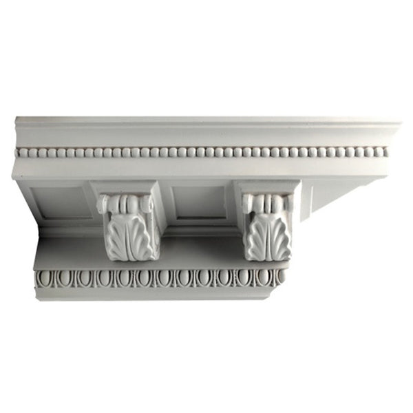 "6""(H) x 7""(Proj.) - Repeat: 6-13/16"" - Classic Style Crown Molding Design - [Plaster Material] - Brockwell Incorporated"