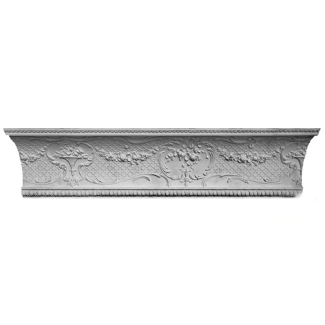 "10""(H) x 9-1/4""(Proj.) - Repeat: 42"" - Louis XV Crown Molding Design - [Plaster Material] - Brockwell Incorporated"