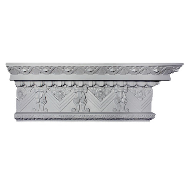 "12""(H) x 4-3/4""(Proj.) - Repeat: 9-1/8"" - Art Deco Crown Molding Design - [Plaster Material] - Brockwell Incorporated"