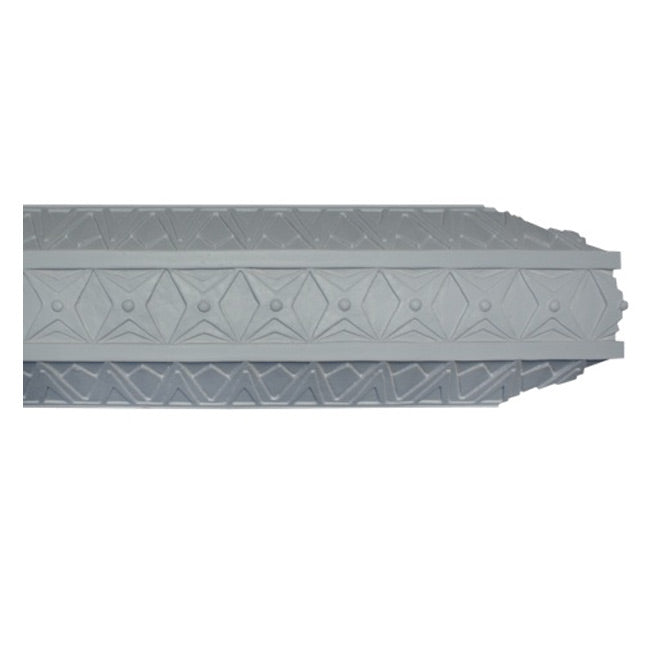 "8-1/2""(H) x 4""(Proj.) - Repeat: 2-1/8"" - Art Deco Crown Molding Design - [Plaster Material] - Brockwell Incorporated"