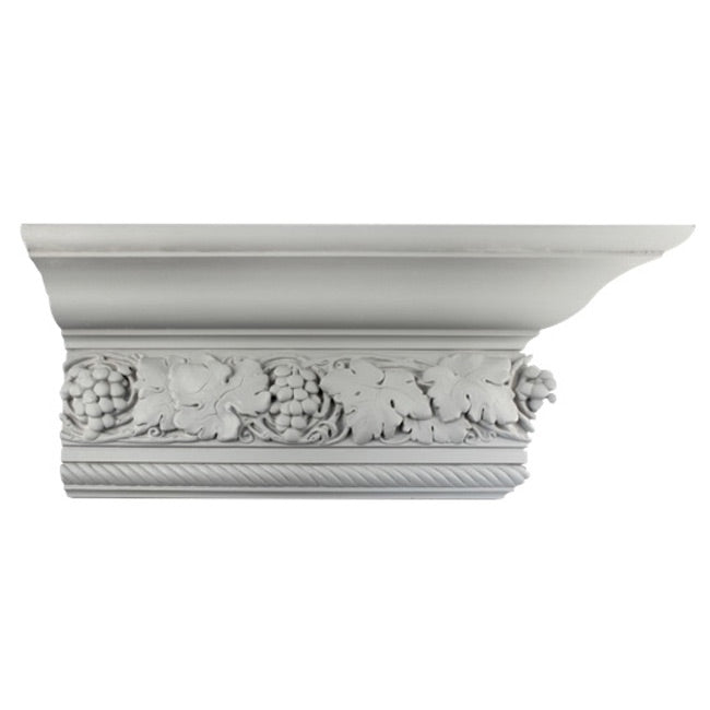 "10-1/4""(H) x 5-3/8""(Proj.) - Repeat: 10-5/8"" - Fruit & Leaves Crown Molding Design - [Plaster Material] - Brockwell Incorporated"