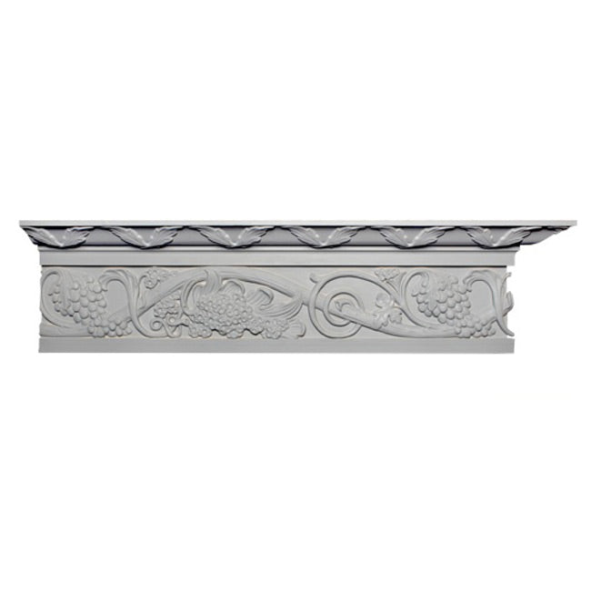 "8-1/8""(H) x 3-7/8""(Proj.) - Repeat: 23"" - English Style Crown Molding Design - [Plaster Material] - Brockwell Incorporated"