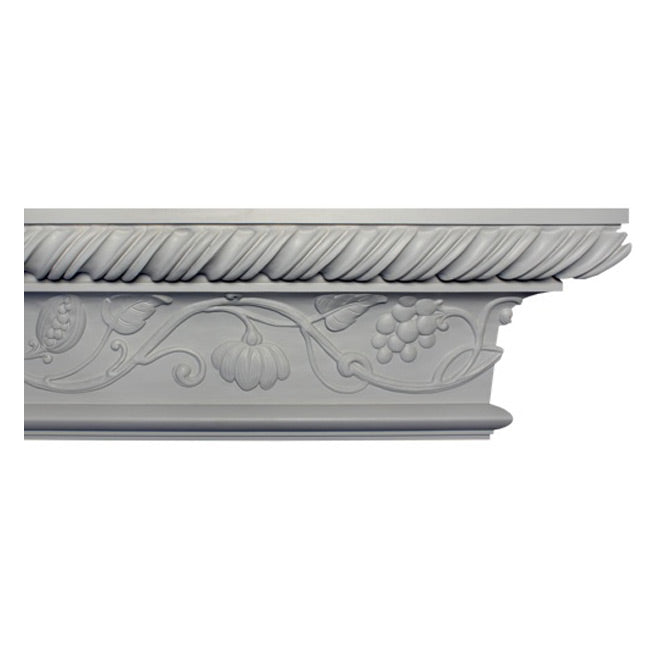 "12-1/4""(H) x 4-3/4""(Proj.) - Repeat: 41"" - English Style Crown Molding Design - [Plaster Material] - Brockwell Incorporated"