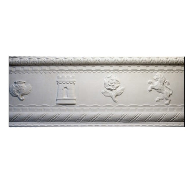 "8-1/4""(H) x 13-1/2""(Proj.) - Repeat: 43"" - English Style Crown Molding Design - [Plaster Material] - Brockwell Incorporated"