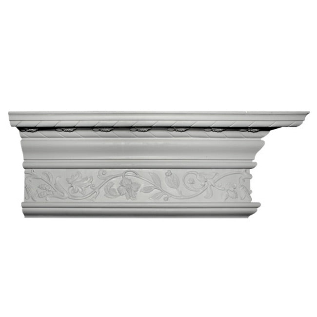 "13""(H) x 6-1/2""(Proj.) - Repeat: 30"" - English Style Crown Molding Design - [Plaster Material] - Brockwell Incorporated"