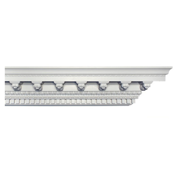 "6-1/4""(H) x 6""(Proj.) - Repeat: 3-5/8"" - Classic Style Crown Molding Design - [Plaster Material] - Brockwell Incorporated"