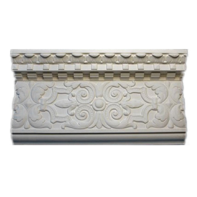 "14-1/2""(H) x 6""(Proj.) - Repeat: 23"" - English Style Crown Molding Design - [Plaster Material] - Brockwell Incorporated"
