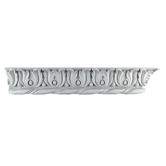 "3-1/4""(H) x 1-7/8""(Proj.) - Repeat: 3-1/8"" - Romanesque Crown Molding Design - [Plaster Material] - Brockwell Incorporated"