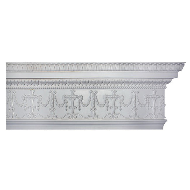 "13-1/2""(H) x 3-3/4""(Proj.) - Repeat: 16"" - French Crown Molding Design - [Plaster Material] - Brockwell Incorporated"