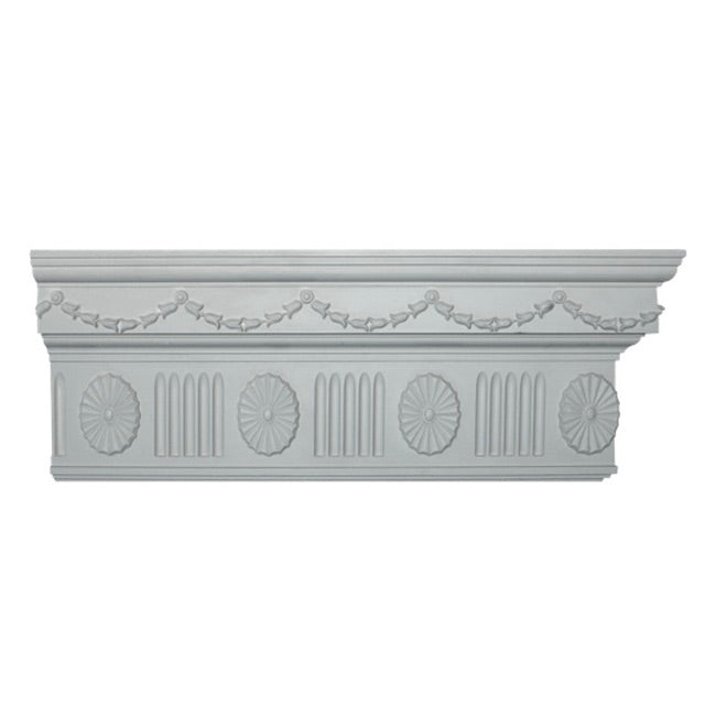 "8-3/4""(H) x 2-3/8""(Proj.) - Repeat: 6"" - Colonial Crown Molding Design - [Plaster Material] - Brockwell Incorporated"