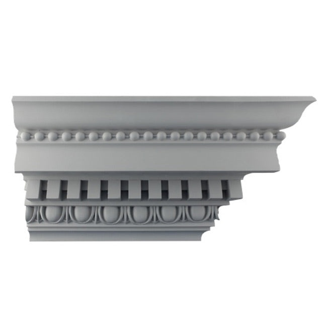 "7-3/4""(H) x 6-3/4""(Proj.) - Repeat: 2"" - Roman Crown Molding Design - [Plaster Material] - Brockwell Incorporated"
