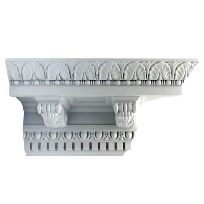 "7-3/4""(H) x 7-3/4""(Proj.) - Repeat: 7-1/2"" - Roman Style Crown Molding Design - [Plaster Material] - Brockwell Incorporated"