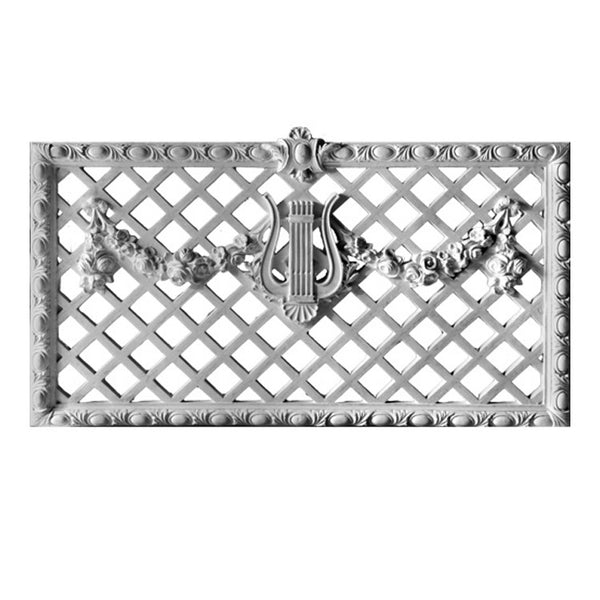 "60"" (W) x 34"" (H) - French Renaissance Grille - (Closed) - [Plaster Material]-Brockwell Incorporated"