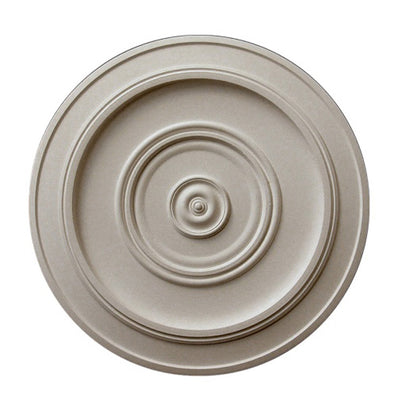 "17-1/4"" (Diam.) x 3/4"" (Relief) - Center: 3-1/4"" - Smooth Round Medallion - [Plaster Material] - Brockwell Incorporated"