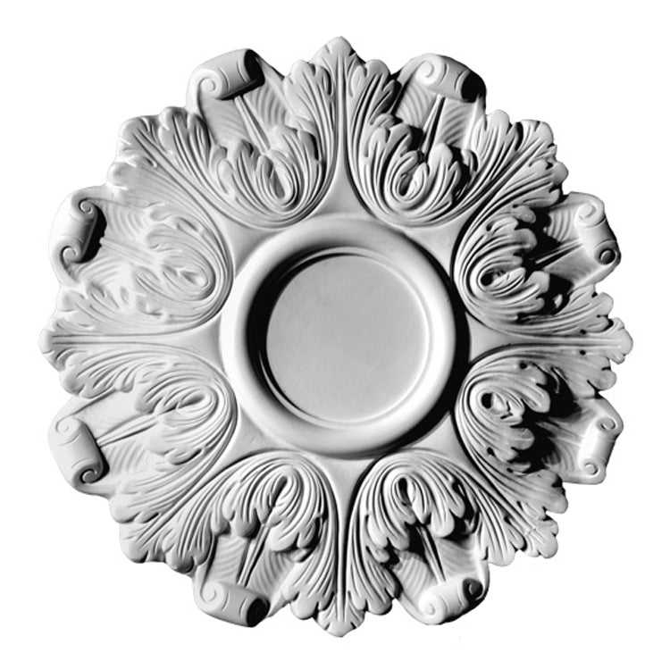 "16-3/4"" (Diam.) x 4-3/4"" (Flat for Hole) - Full Acanthus Leaves Medallion - [Plaster Material] - Brockwell Incorporated"