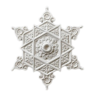 "17-1/2"" (Diam.) x 1-1/4"" (Relief) - Moorish Style Scroll & Flower Medallion - [Plaster Material] - Brockwell Incorporated"