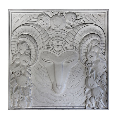 "24"" (W) x 24"" (H) x 1"" (Relief) - Art Deco Ram's Head Wall Panel - [Plaster Material] - Brockwell Incorporated"