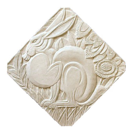 "18"" (W) x 18"" (H) x 1/2"" (Relief) - Diagonal: 23-1/2"" - Art Deco Hare Wall Plaque - [Plaster Material] - Brockwell Incorporated"