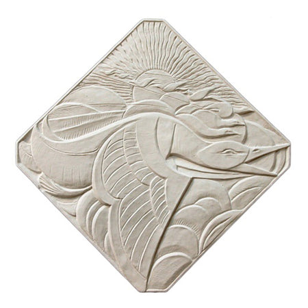 "18"" (W) x 18"" (H) x 1/2"" (Relief) - Diagonal: 23-1/2"" - Art Deco Duck Wall Plaque - [Plaster Material] - Brockwell Incorporated"