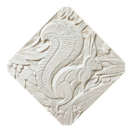 "18"" (W) x 18"" (H) x 1/2"" (Relief) - Diagonal: 23-1/2"" - Art Deco Squirrel Wall Plaque - [Plaster Material] - Brockwell Incorporated"