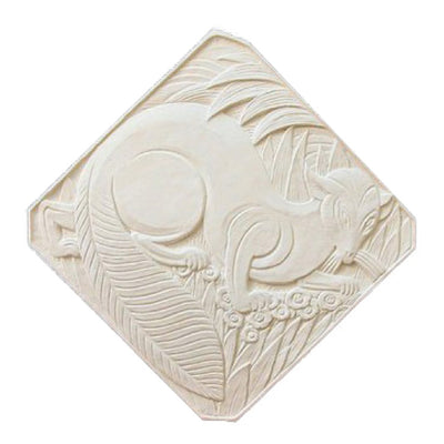 "18"" (W) x 18"" (H) x 1/2"" (Relief) - Diagonal: 23-1/2"" - Art Deco Style Wall Plaque - [Plaster Material] - Brockwell Incorporated"