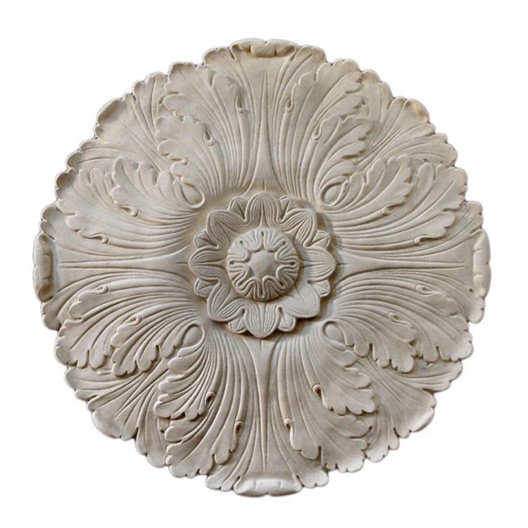 "17-1/2"" (Diam.) x 5/8"" (Relief) - Acanthus Leaf Medallion - [Plaster Material] - Brockwell Incorporated"
