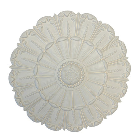 "18"" (Diam.) x 1-5/8"" (Relief) - Italian Bead & Open Petal Medallion - [Plaster Material] - Brockwell Incorporated"