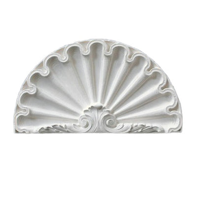 "Molded 12-7/8"" (W) x 7-1/4"" (H) x 1"" (Relief) - Louis XVI Shell Niche Cap - [Plaster Material] - Brockwell Incorporated - 980-282-8383"