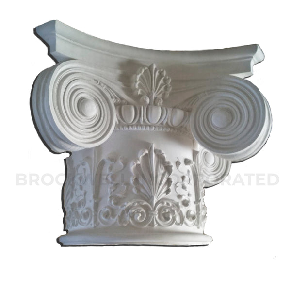 Decorative Round Plaster Column Capital - Modern Empire with Ornate Necking Design - ColumnsDirect.com