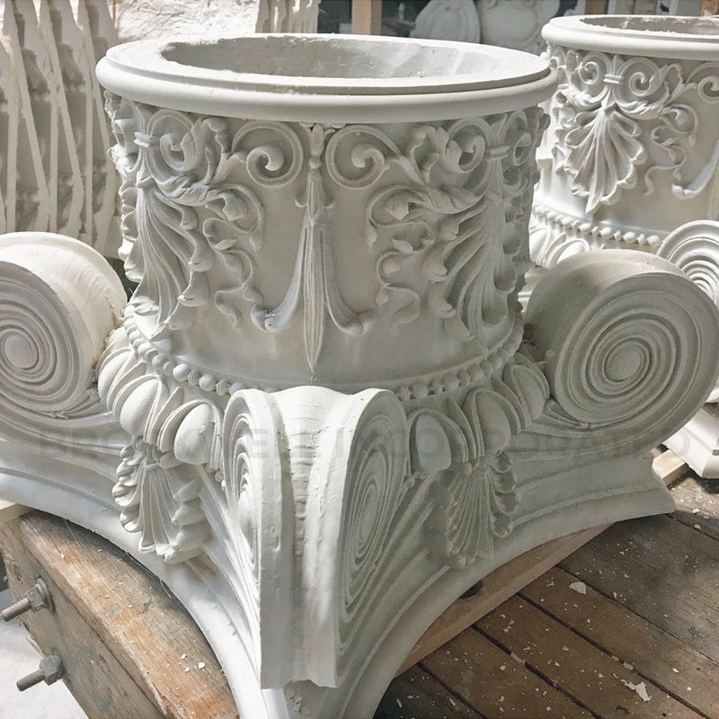 Round Plaster Column Capital - Interior Modern Empire with Necking Design from Brockwell Incorporated