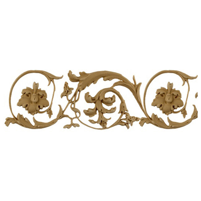 "3-3/4""(H) x 3/16""(Relief) - Italian Style Floral Scroll Linear Molding Design - [Compo Material]-Brockwell Incorporated"