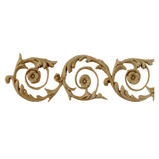 "2""(H) x 1/4""(Relief) - French Renaissance Scroll Linear Molding Design - [Compo Material]-Brockwell Incorporated"