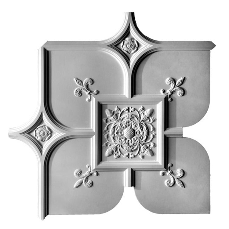 Plaster Ceiling Panel - Old English Style with Ornamentation