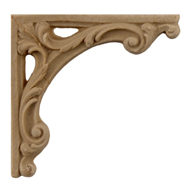 "ColumnsDirect.com - 2-3/4""(W) x 2-3/4""(H) - Stain-Grade Decorative Floral Stair Bracket Design - [Compo Material]"