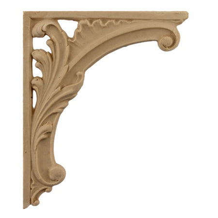 "ColumnsDirect.com - 3-3/4""(W) x 4-1/2""(H) - Decorative Floral Stair Bracket Design - [Compo Material]"