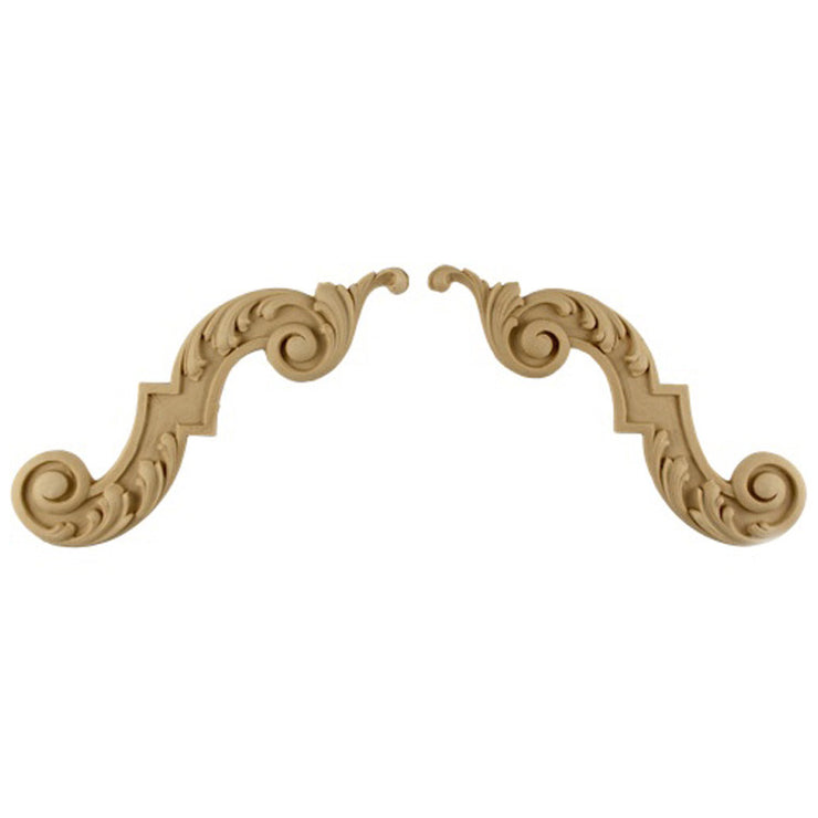 "ColumnsDirect.com - 6-1/2""(W) x 4-1/4""(H) - Floral Scroll Stair Bracket Design (PAIR) - [Compo Material]"