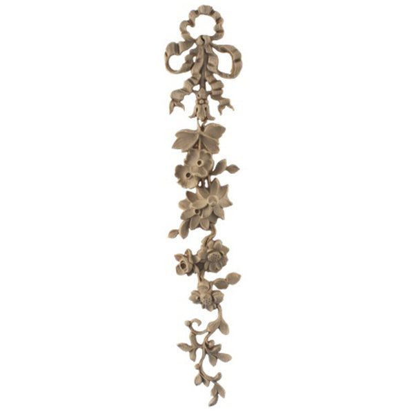 "Decorative 2-3/8""(W) x 12-7/8""(H) x 9/16""(Relief) - Louis XVI Floral Drop Accent - [Compo Material] - Brockwell Incorporated"