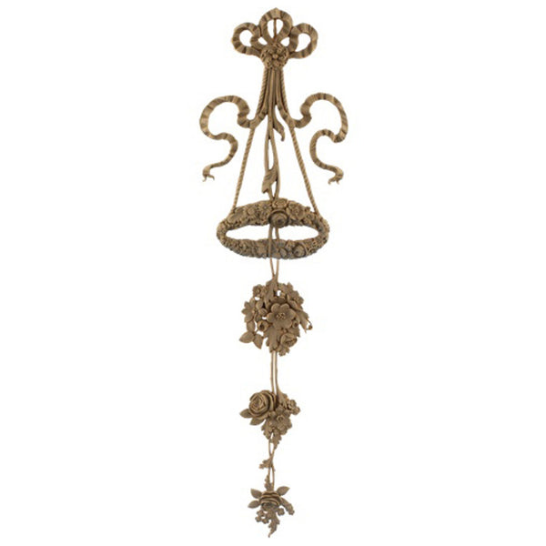 "Decorative 7""(W) x 29""(H) x 1/2""(Relief) - Louis XVI Ornate Vertical Drop Applique - [Compo Material] - Brockwell Incorporated"