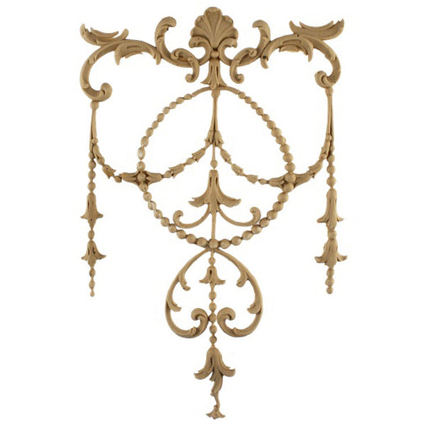 "Decorative 7-1/4""(W) x 12""(H) x 1/4""(Relief) - French Renaissance Style Drop Applique - [Compo Material] - Brockwell Incorporated"