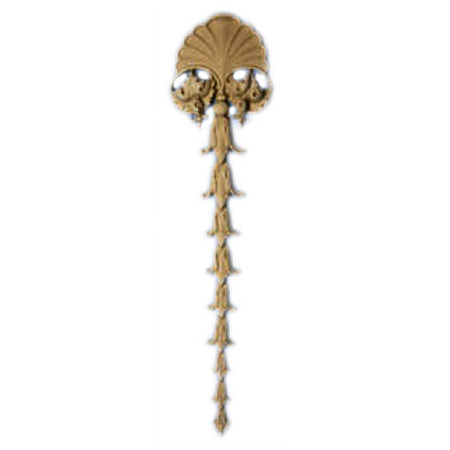 "Decorative 3-1/8""(W) x 12-7/8""(H) x 1/2""(Relief) - Vertical Italian Renaissance Drop Applique - [Compo Material] - Brockwell Incorporated"