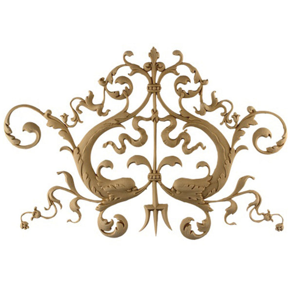 "Decorative 14-3/4""(W) x 7-1/2""(H) x 1/4""(Relief) - Empire Leaf Scrolls Drop Applique - [Compo Material] - Brockwell Incorporated"