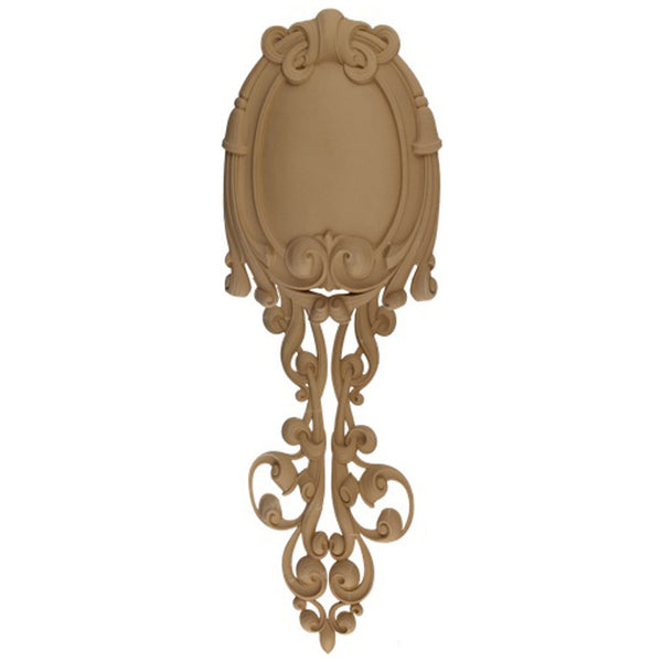 "Decorative 12-3/4""(W) x 37-1/2""(H) x 5/8""(Relief) - Modern Shield Vertical Drop Applique - [Compo Material] - Brockwell Incorporated"